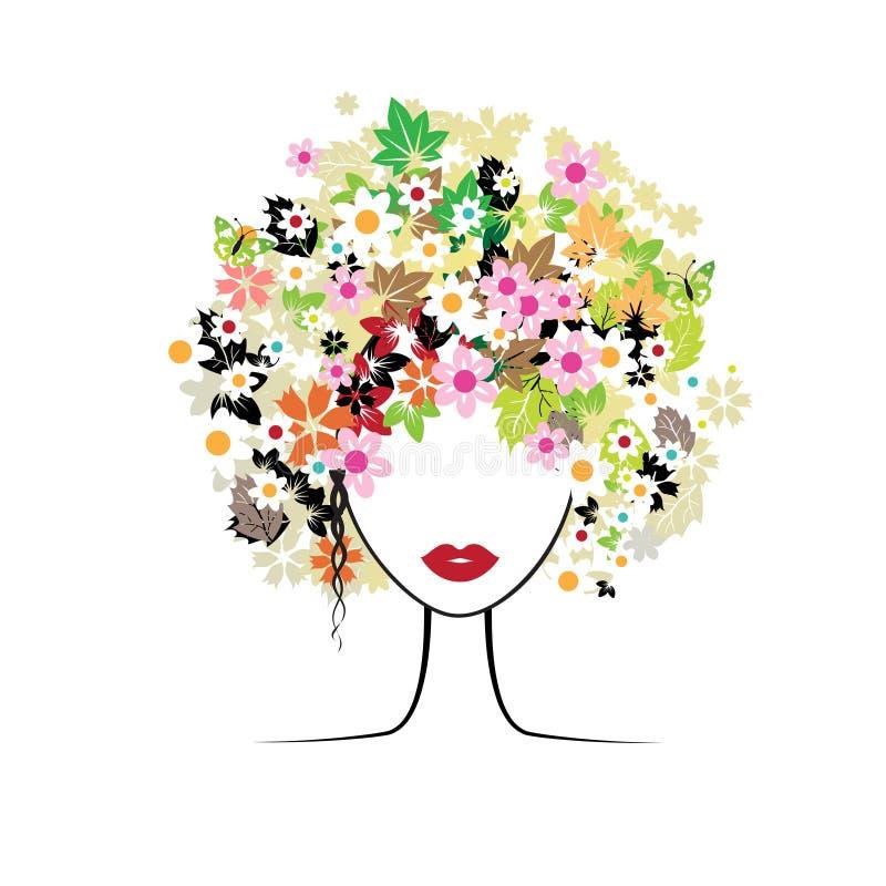Gesichtsfrau, Blumenfrisur stock abbildung