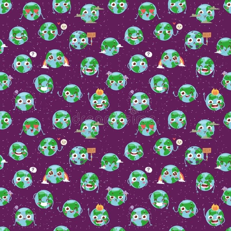 Gesichtsfrohnaturcharaktererdplanet emojji der Karikaturkugelgefühlnetzikonen globales nahtloser Mustervektor stock abbildung