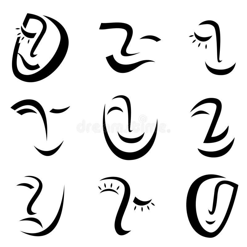 Gesichtsgraphikvektor stock abbildung
