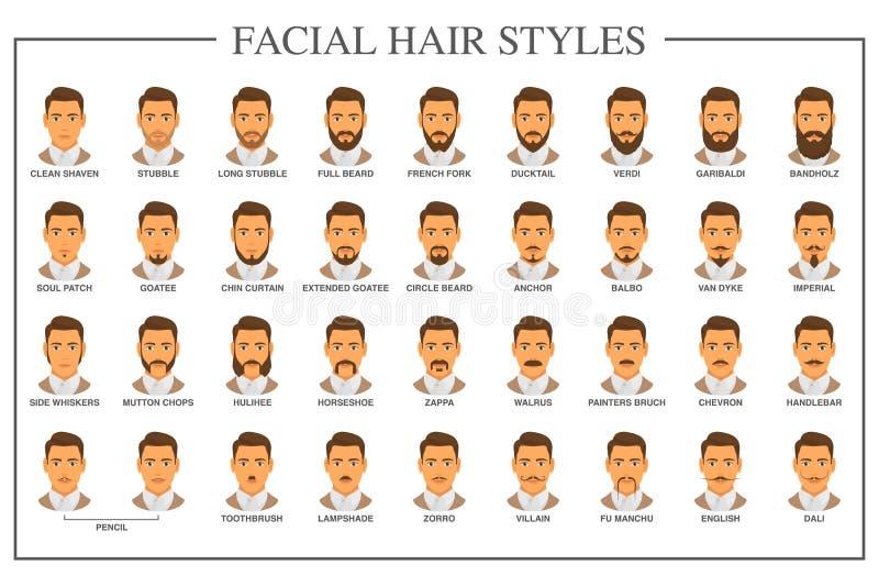 Gesichtshaararten lizenzfreie abbildung