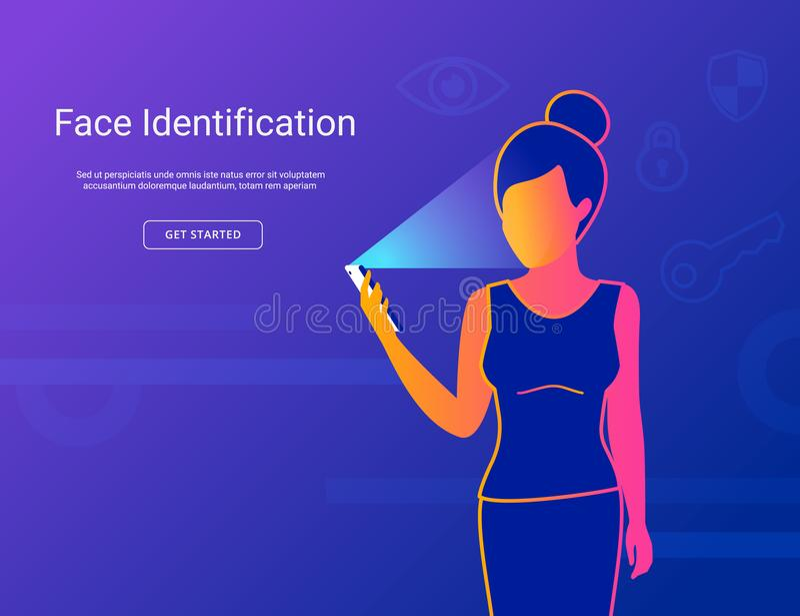Gesichtsidentifizierung der jungen Frau vektor abbildung