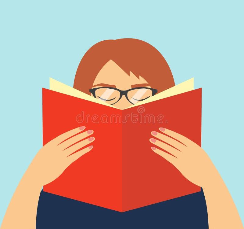 Gesichtslose Frau in den Gläsern, die ein offenes Buch in seinen Händen halten Bildungssymbol Vektorillustration des Studentenler stock abbildung