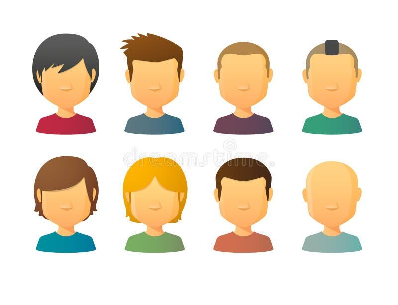Gesichtslose männliche Avataras mit verschiedenen Frisuren lizenzfreie abbildung