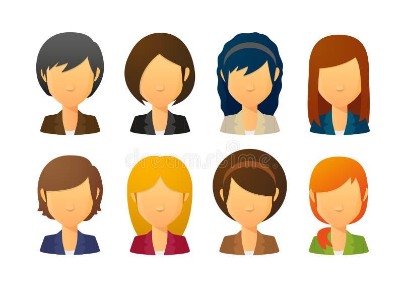Gesichtslose weibliche Avataras, die Anzug mit verschiedenen Frisuren tragen vektor abbildung
