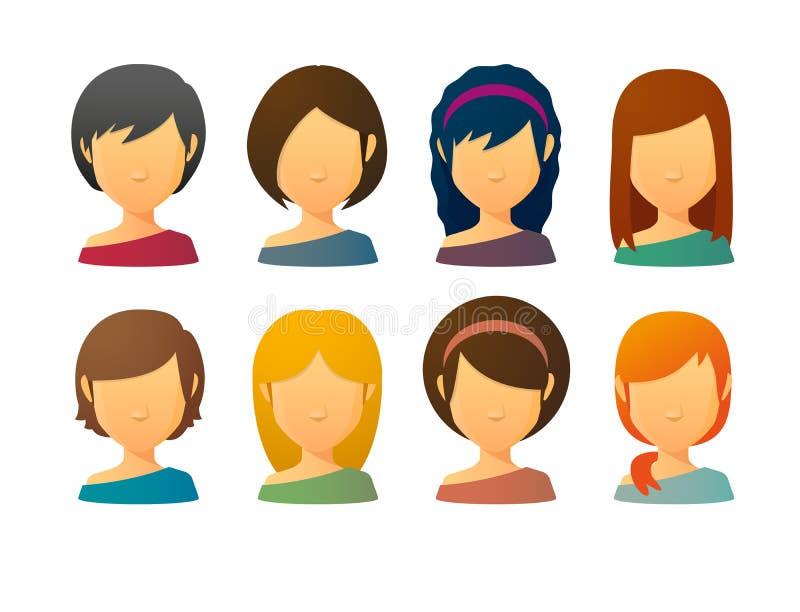 Gesichtslose weibliche Avataras mit verschiedenen Frisuren lizenzfreie abbildung