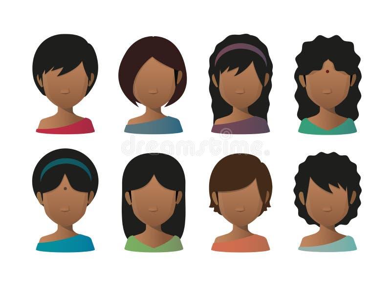 Gesichtsloser Avatarasatz der jungen indischen Frauen vektor abbildung