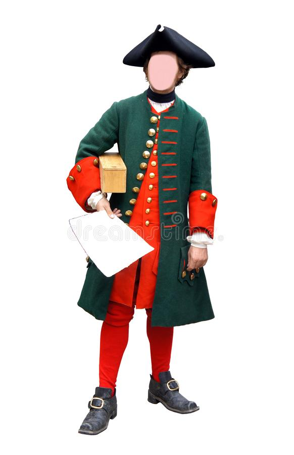Gesichtsloser Mann im militärischen russischen Kostüm 17 - 18 Jahrhunderte mit tricorne Hut lokalisiert auf weißem Hintergrund stockbild