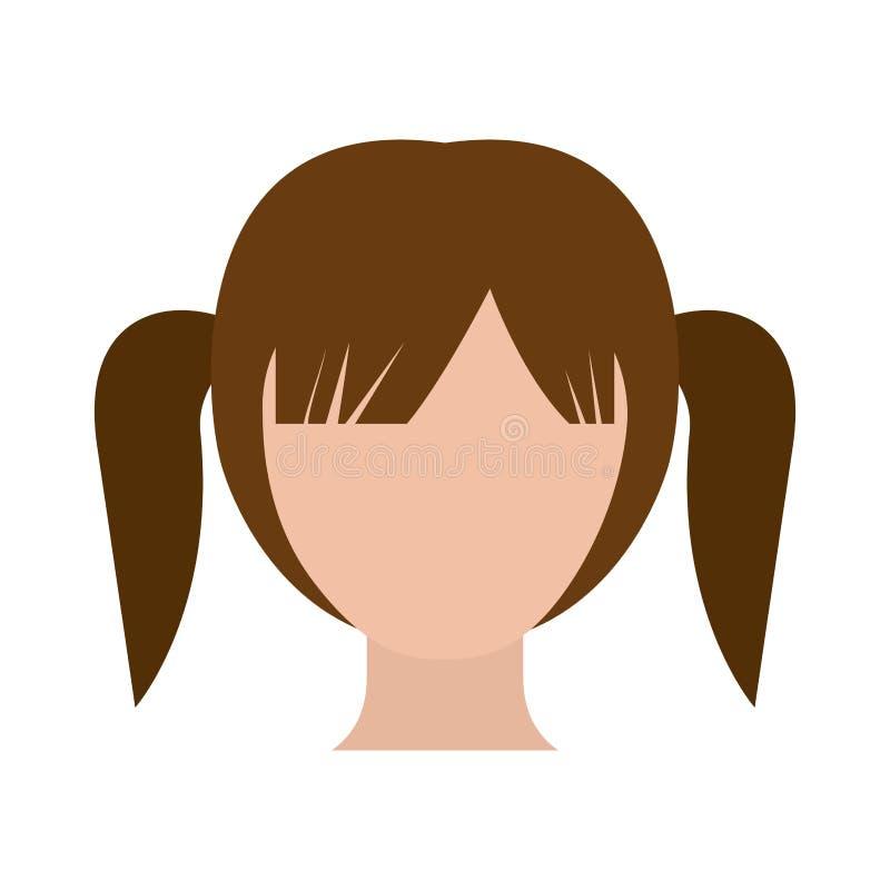 Gesichtsloses Mädchen des bunten Schattenbildes mit hoher Zopffrisur lizenzfreie abbildung