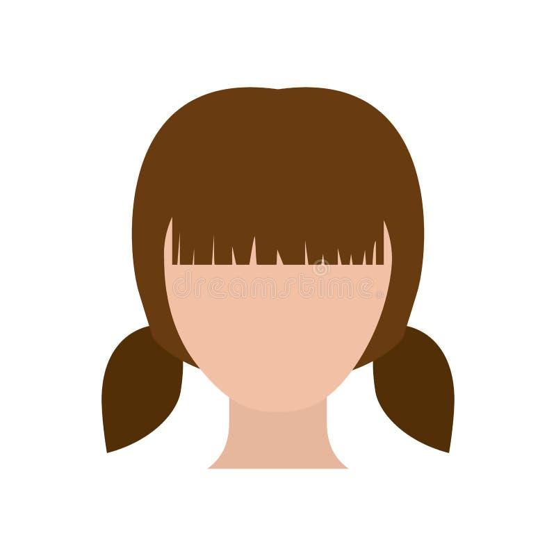 Gesichtsloses Mädchen des bunten Schattenbildes mit Paarzopffrisur vektor abbildung