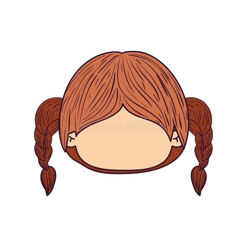 Gesichtsloses nettes Mädchen der Vorderansicht der bunten Karikatur mit hoher Bortenzopffrisur lizenzfreie abbildung