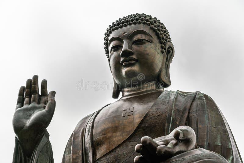 Gesichtsnahaufnahme von Tian Tan Buddha, Hong Kong China lizenzfreies stockbild