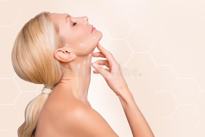 Gesichtsporträt der Seitenansicht des Profils halbes der anhebenden Richtung der netten reizend attraktiven Halspfeil-Vertretung  lizenzfreie stockfotografie