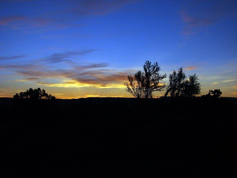 Gesilhouetteerde Blauwe & Gele Hemel stock fotografie