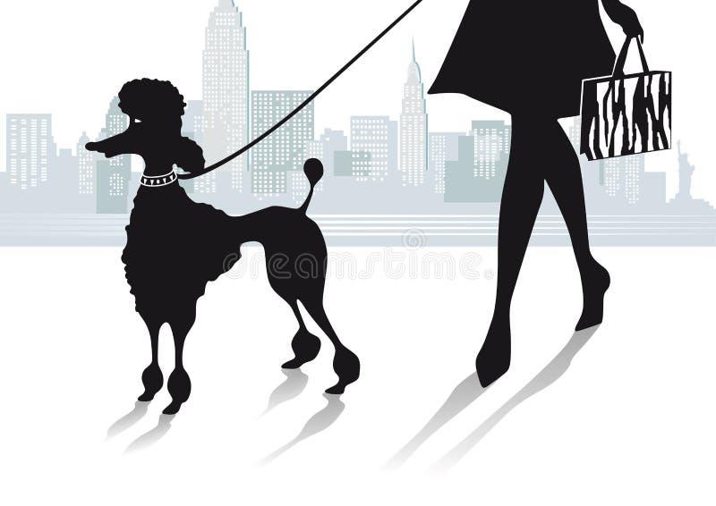 Vrouw in stad met poedel vector illustratie