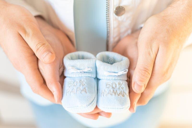 Geslacht onthult 50% Mam 50% Pap stock afbeelding