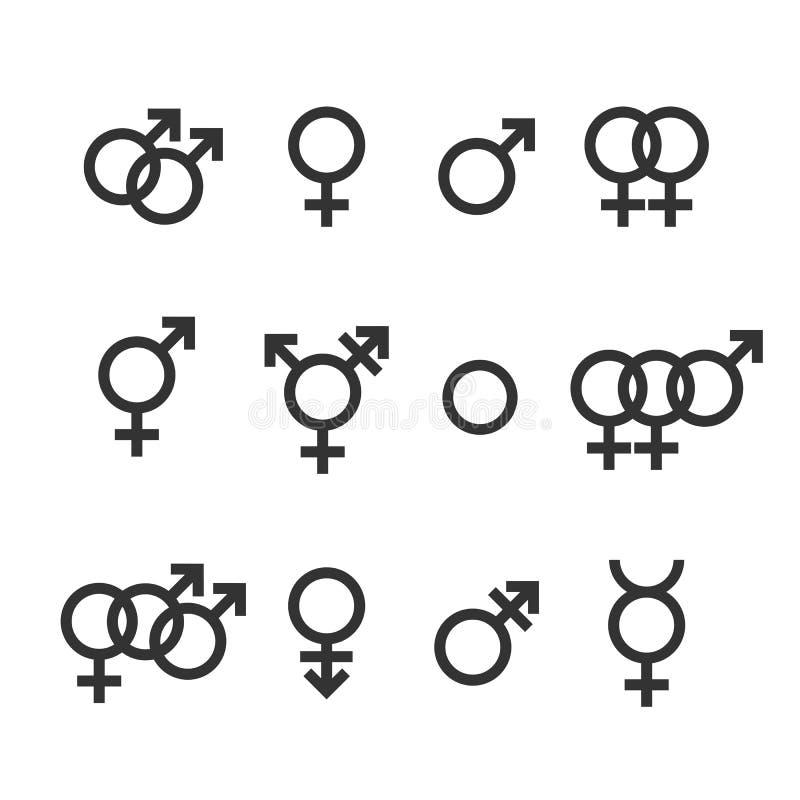 Geslachtspictogram Wijfje, mannetje, homosexueel, lesbienne, transsexueel, biseksueel symbool Vectorillustratie, vlak ontwerp vector illustratie