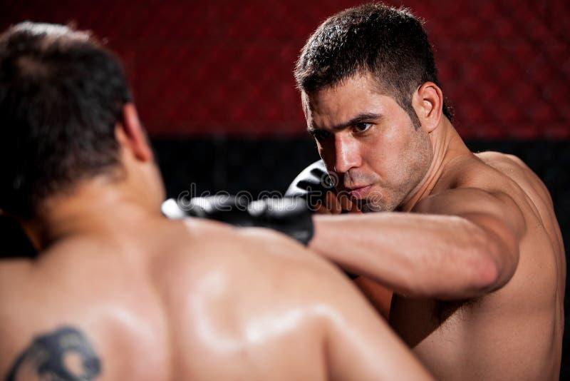 Geslagen het worden door een MMA-vechter royalty-vrije stock afbeelding