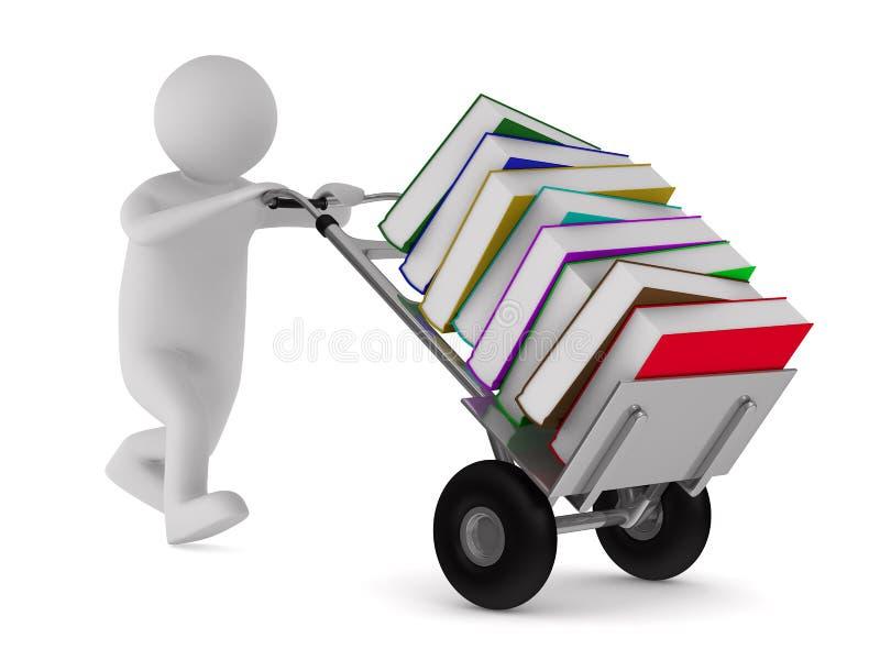 Gesloten boek en boeken op witte achtergrond royalty-vrije illustratie