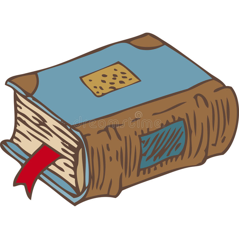 Gesloten Boek met Referentie en Blauwe Dekking royalty-vrije illustratie