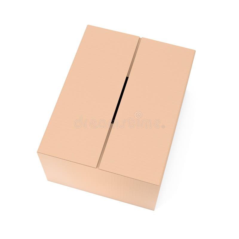 Gesloten bruine golfkartondoos Grote het verschepen verpakking 3d teruggevende ge?soleerde illustratie vector illustratie