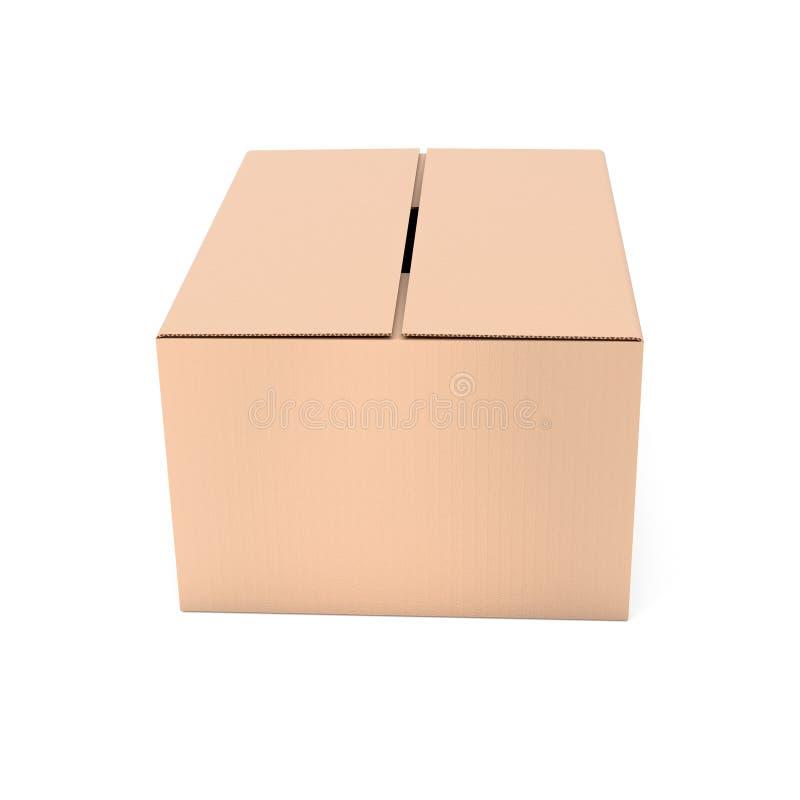 Gesloten bruine golfkartondoos Grote het verschepen verpakking 3d teruggevende ge?soleerde illustratie stock illustratie