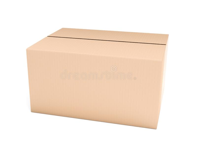 Gesloten bruine golfkartondoos Grote het verschepen verpakking 3d teruggevende ge?soleerde illustratie royalty-vrije illustratie
