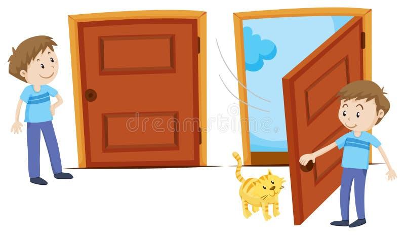 Gesloten deur en geopende deur stock illustratie