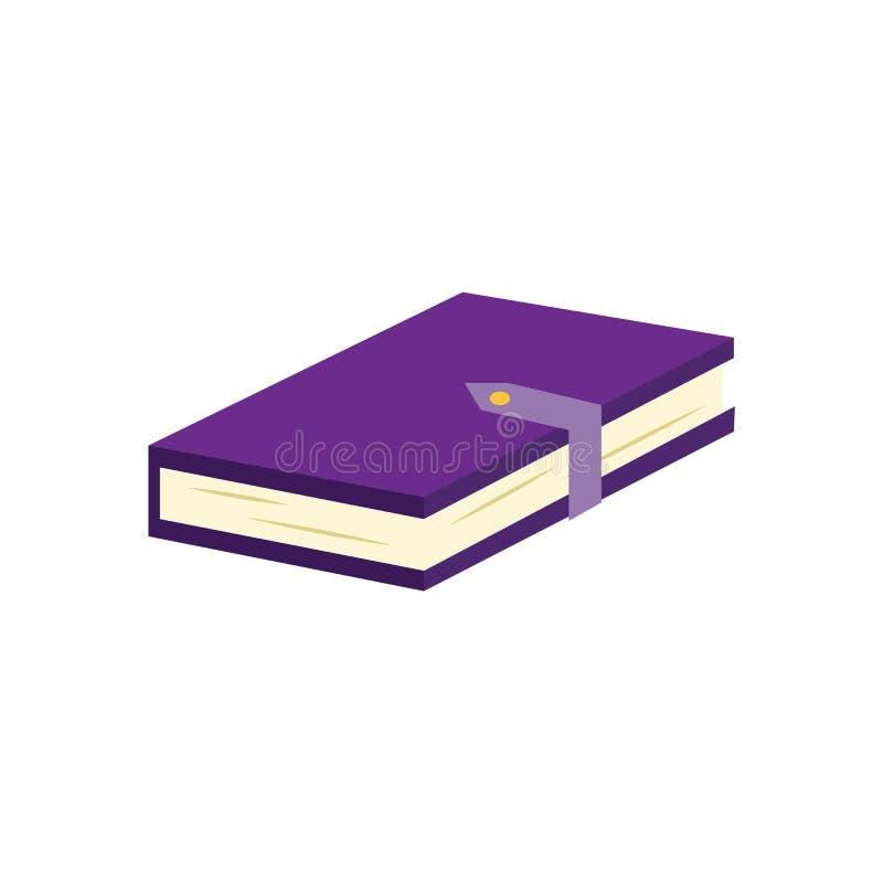 Gesloten die document boek of agenda met viooltje hardcover en greep op witte achtergrond wordt geïsoleerd royalty-vrije illustratie