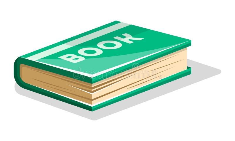 Gesloten dik groen boek met het van letters voorzien van Boek op harde dekking Vectorbeeldverhaalpictogram op wit stock illustratie