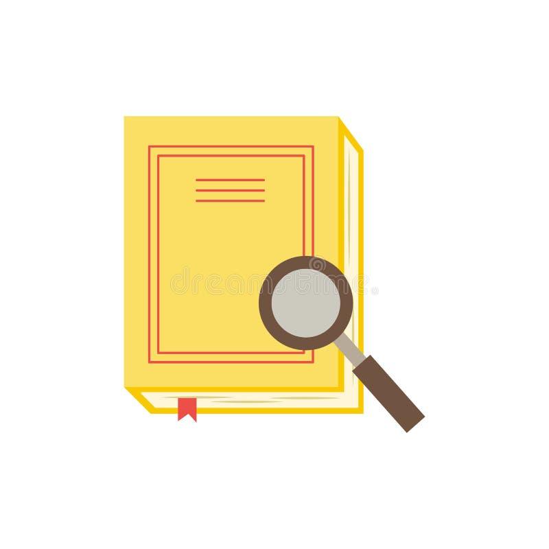 Gesloten document boek of agenda met gele hardcover en rode referentie en meer magnifier royalty-vrije illustratie