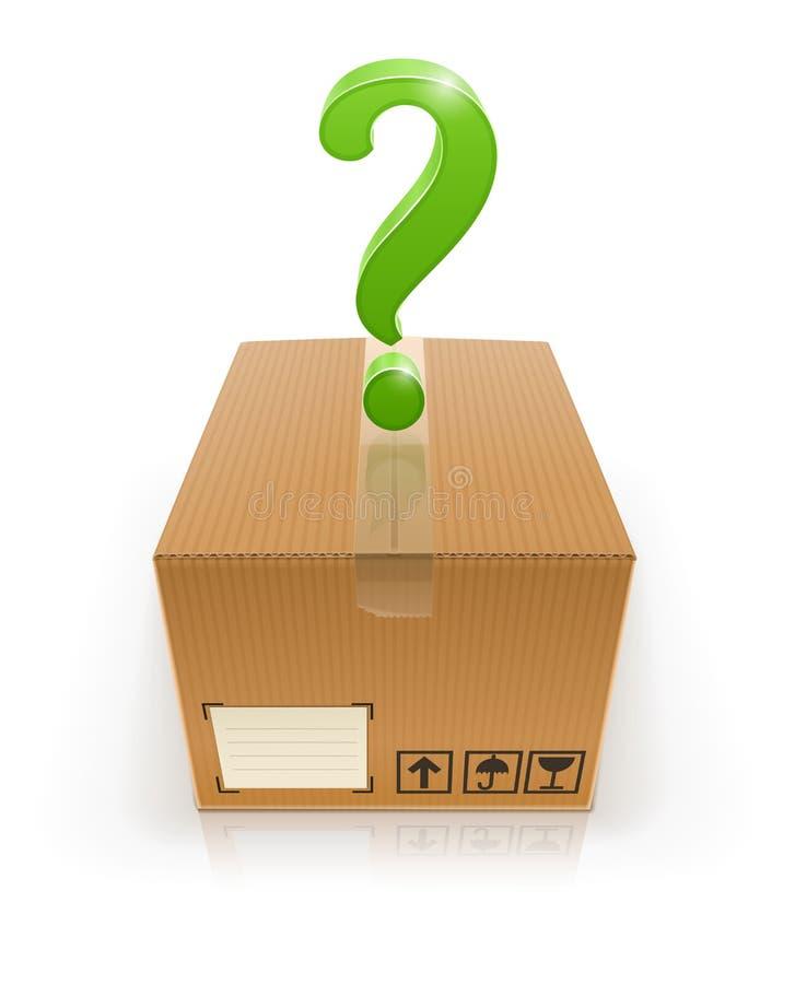 Gesloten doos met vraagteken stock illustratie