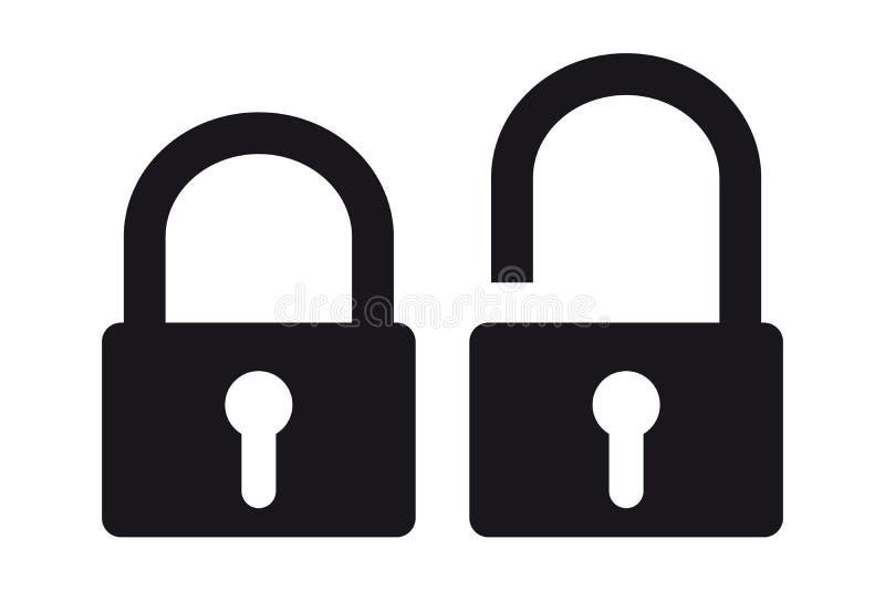 Gesloten en Geopende veiligheidshangslot - Pictogrammen - VectordieIllustratie - op Wit wordt geïsoleerd vector illustratie