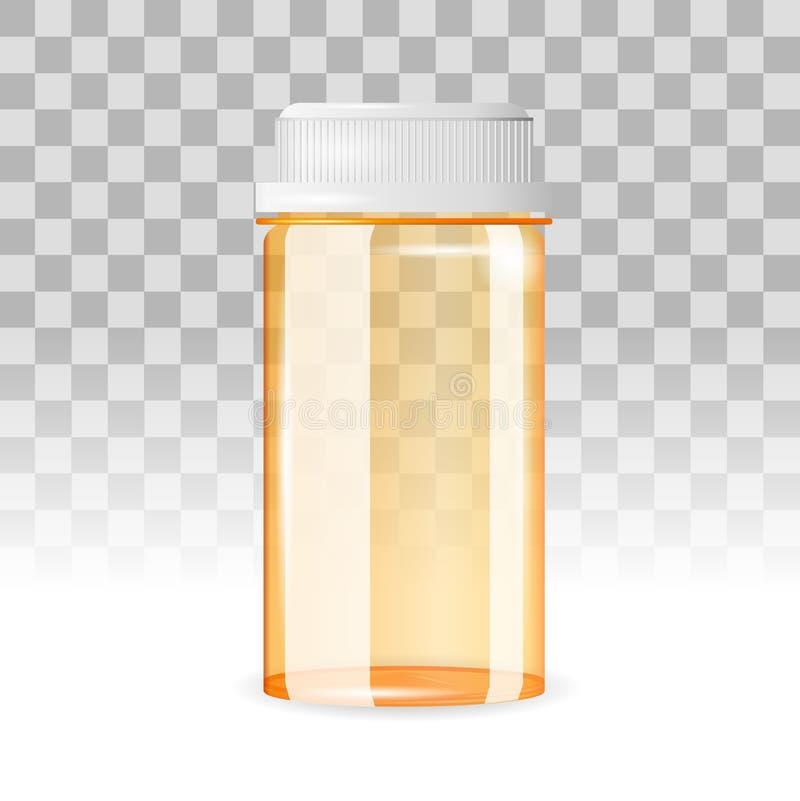 Gesloten en lege pillenfles op de transparante achtergrond Realistische vectorillustratie stock illustratie