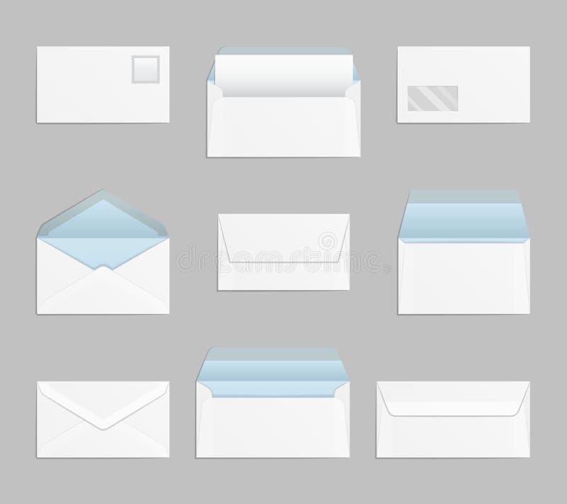 Gesloten en open enveloppen vectorreeks vector illustratie