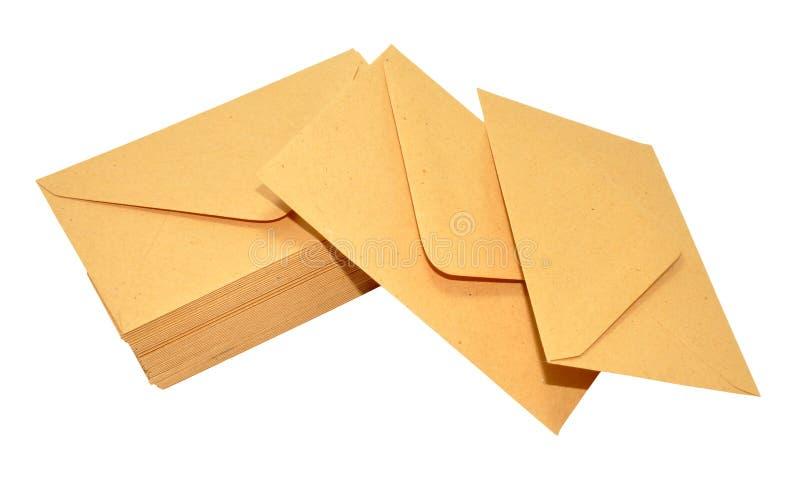 Gesloten geweeste Bruine Enveloppen stock afbeeldingen