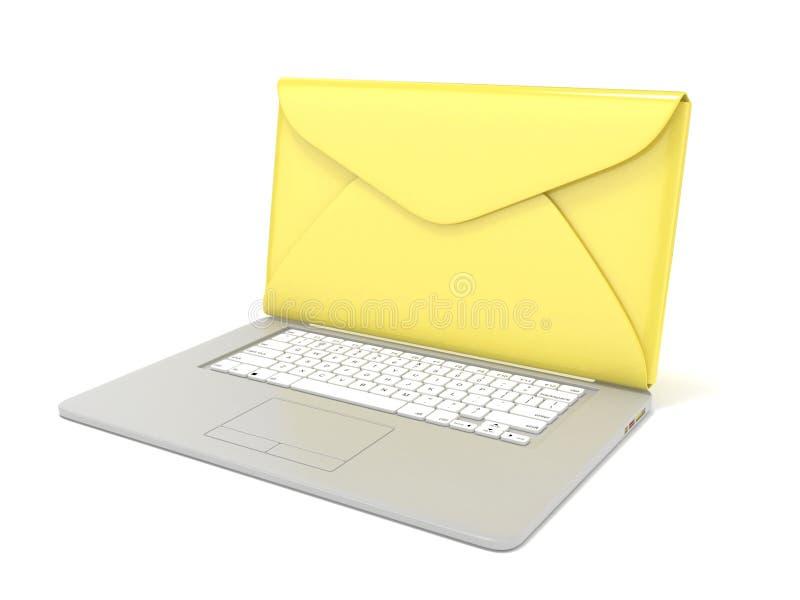 Gesloten geweeste envelop op laptop Zachte nadruk 3d geef terug stock illustratie