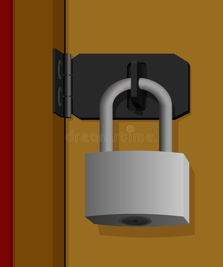 Gesloten hangslot op de deur vector illustratie