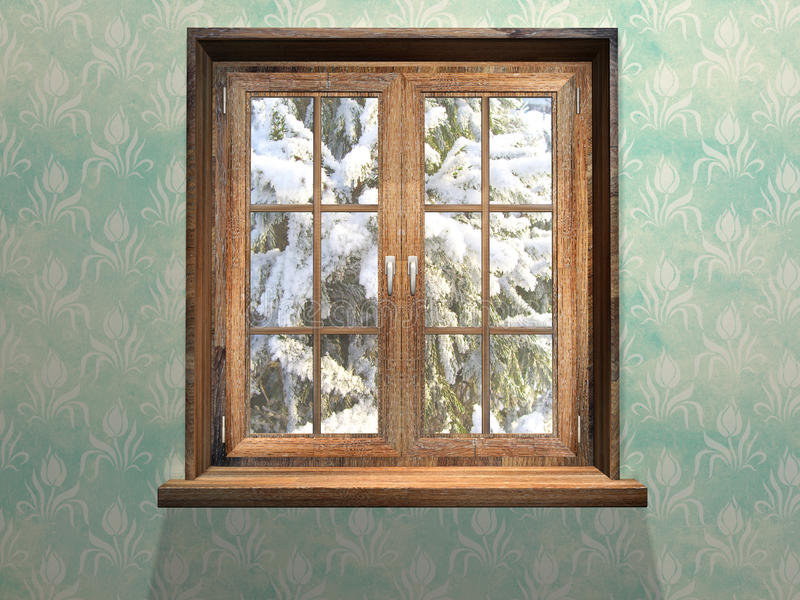 Gesloten houten venster royalty-vrije illustratie
