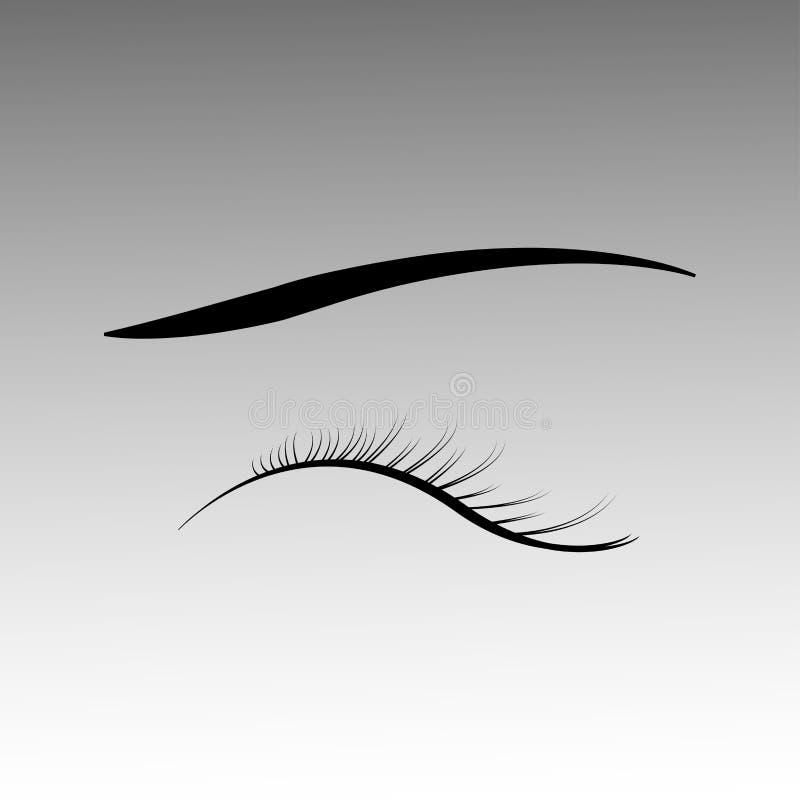 Gesloten ogen met zwarte pluizige wimpers op een witte achtergrond stock illustratie