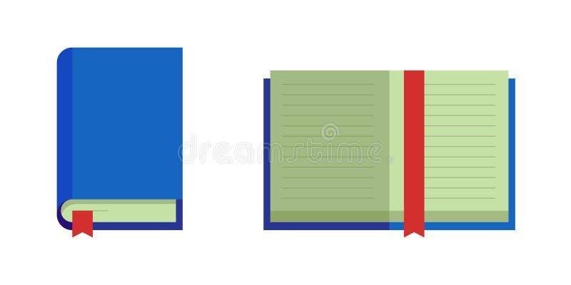 Gesloten open boek met blauwe dekkings rode referentie Onderwijs vlakke ve vector illustratie