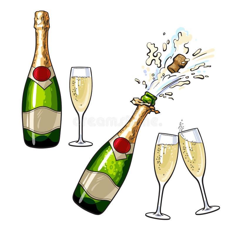 Gesloten, open champagnefles en glazen stock illustratie