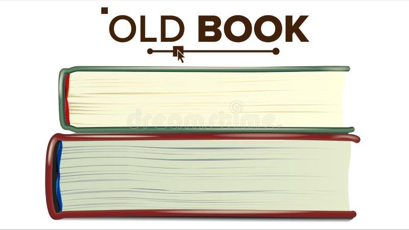 Gesloten Oude Boek Vastgestelde Vector Onderwijs, Literatuurhandboek Geïsoleerdeo illustratie vector illustratie