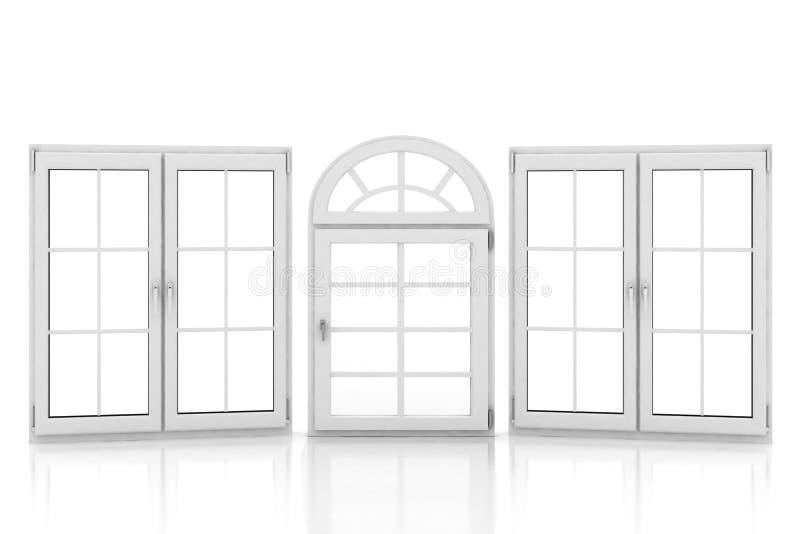 Gesloten plastic vensters op wit vector illustratie