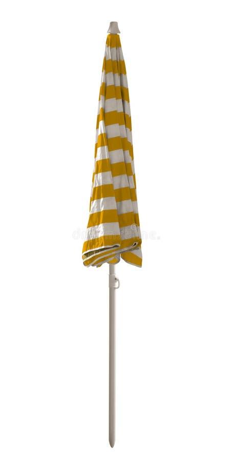 Gesloten strandparaplu - gestreept geel-Wit royalty-vrije stock foto
