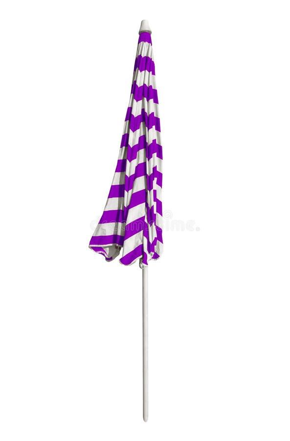 Gesloten strandparaplu - gestreept violet-Wit royalty-vrije stock foto's