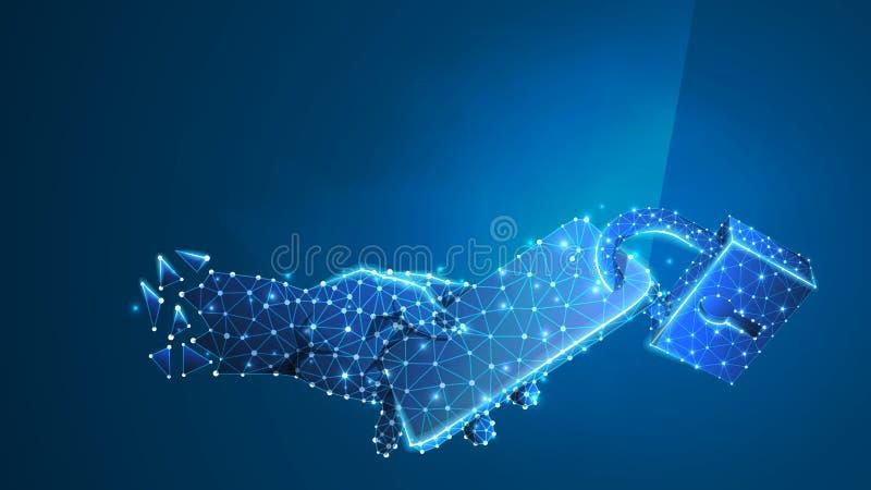 Gesloten Telefoon in een hand Mobiele bescherming, de technologieconcept van de gadgetveiligheid Digitale samenvatting, wireframe vector illustratie