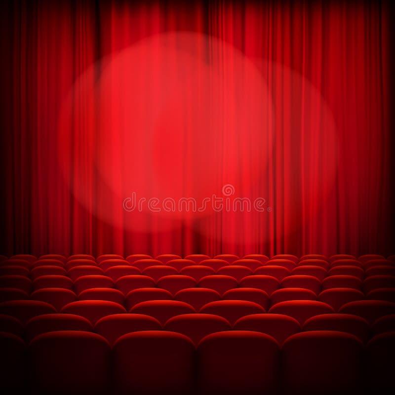Gesloten theater rode gordijnen Eps 10 royalty-vrije illustratie