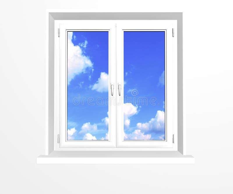 Gesloten venster en wolken op blauwe hemel vector illustratie