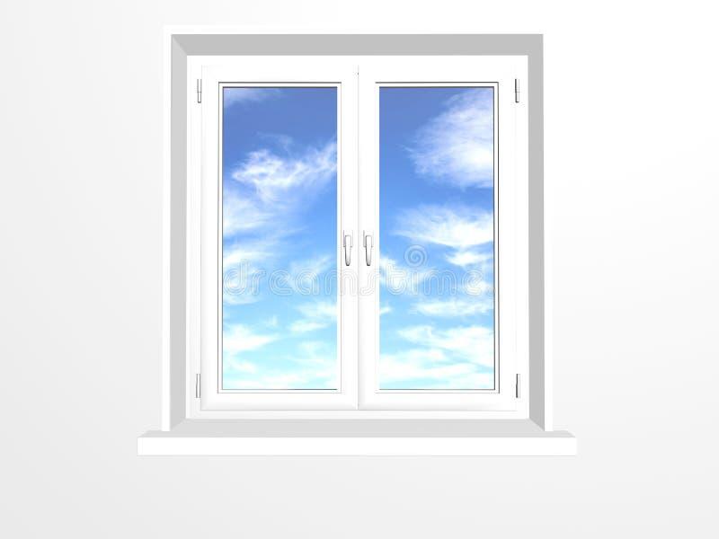 Gesloten venster en wolken op blauwe hemel stock illustratie