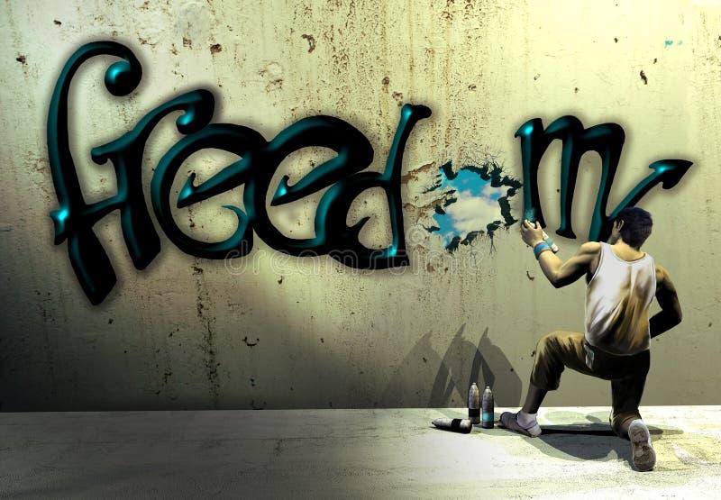 Graffiti van de vrijheid stock illustratie